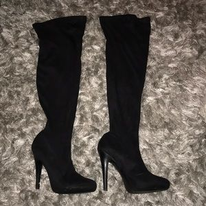 Charles David Shoes - Charles David Suede Over the Knee Boot Heel